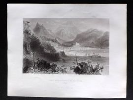 G. N. Wright 1840 Antique Print. Town and Harbour of Salerno, Italy
